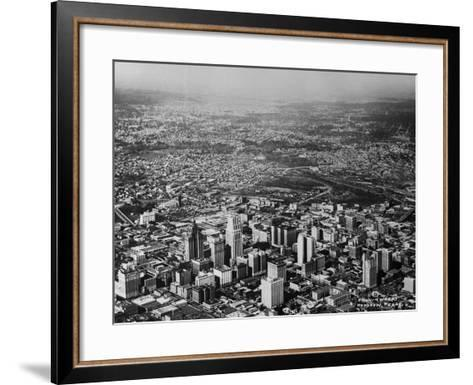 Aerial View of Houston and Surrounding Suburbs--Framed Art Print