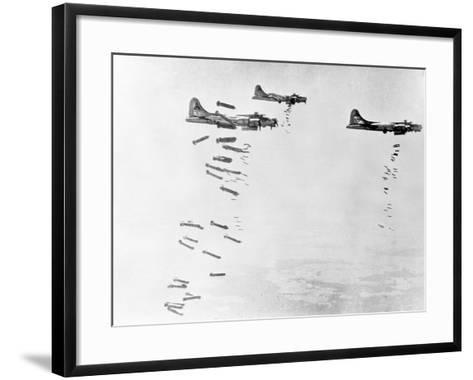 Military Airplanes Dropping Shells over Germany--Framed Art Print