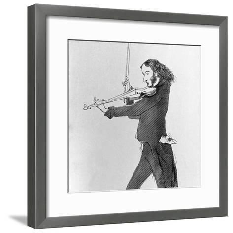 Nicolo Paganini Playing Violin--Framed Art Print