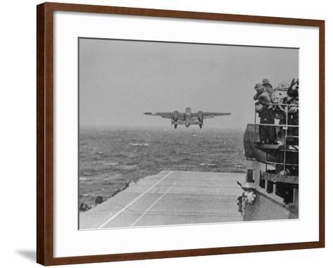 Doolittle Raid on Tokyo,B-25 Leaves USS Hornet--Framed Art Print