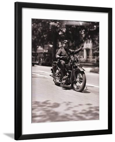 Police Officer on Motorcycle-Philip Gendreau-Framed Art Print