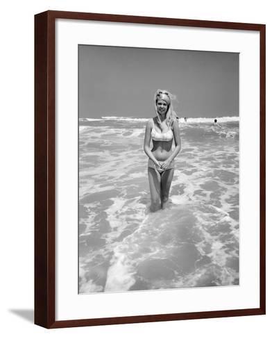 Woman Standing in Ocean Surf-Philip Gendreau-Framed Art Print