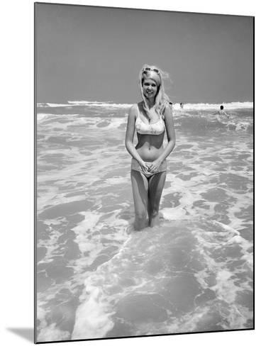 Woman Standing in Ocean Surf-Philip Gendreau-Mounted Photographic Print