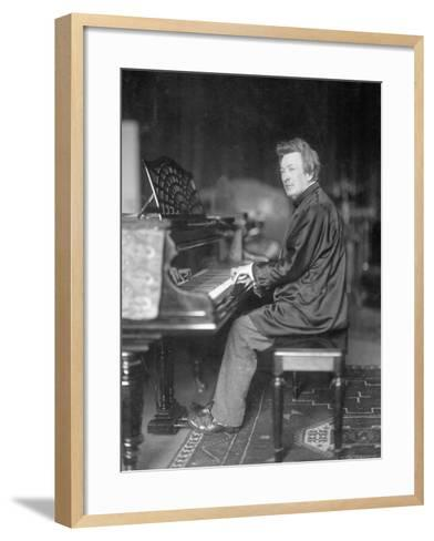 Pianist Ferrucio Busoni Posing at Piano-H. Hermann-Framed Art Print