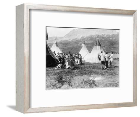 Native Americans Dance amongst Teepees-Philip Gendreau-Framed Art Print