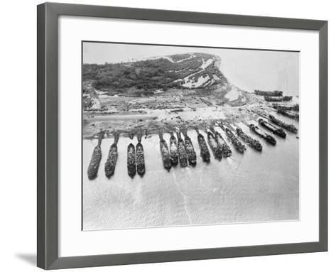 Aerial View of Ships Assaulting Leyte--Framed Art Print