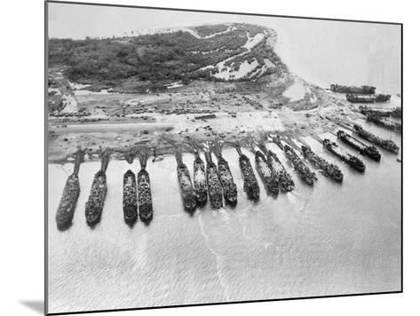 Aerial View of Ships Assaulting Leyte--Mounted Photographic Print