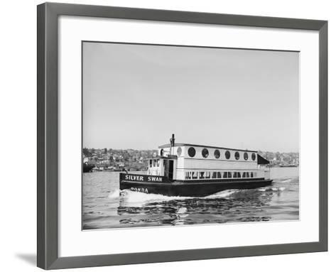 The Silver Swan on Lake Union-Ray Krantz-Framed Art Print