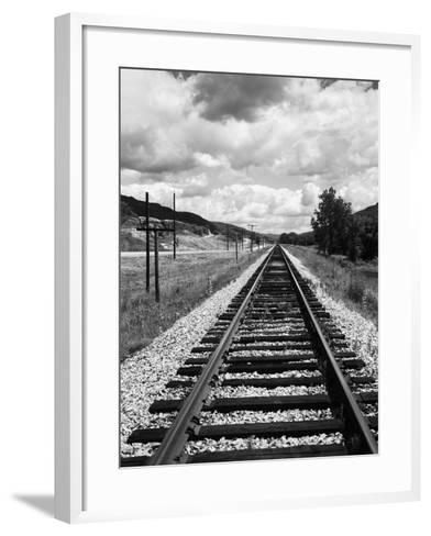 Railroad Tracks Stretching into the Distance-Philip Gendreau-Framed Art Print
