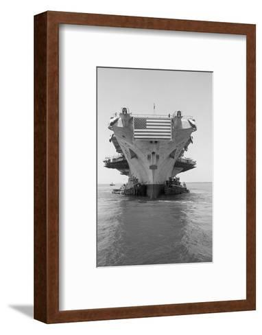 Tugboats Pushing the Aircraft Carrier John F. Kennedy--Framed Art Print