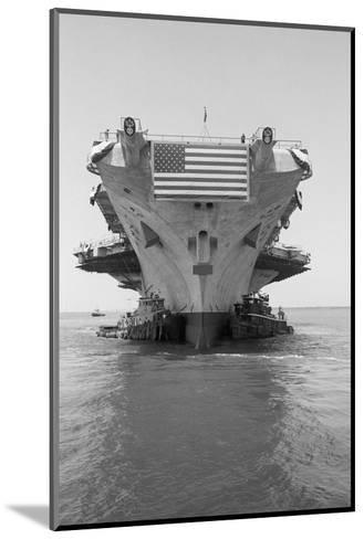 Tugboats Pushing the Aircraft Carrier John F. Kennedy--Mounted Photographic Print