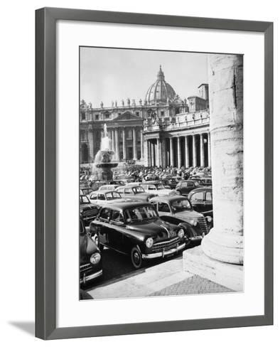 Cars Parking for Vatican Visit--Framed Art Print