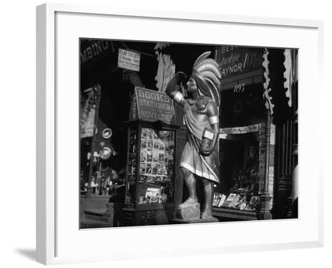 Wooden Native American Cigar Shop Statue--Framed Art Print