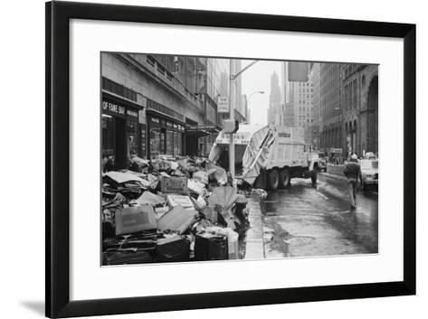 Sanitation Trucks Collecting Garbage--Framed Art Print