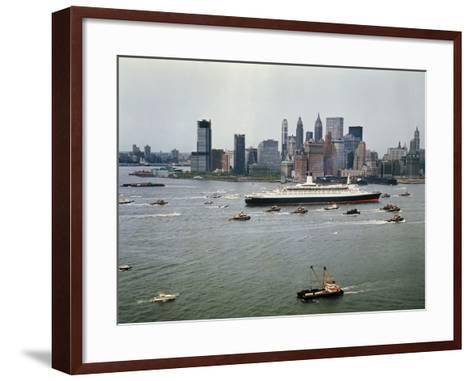 Queen Elizabeth 2 Sailing out of New York Harbor-Maurel-Framed Art Print