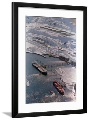 Aerial of Ships Docked in Port of Valdez--Framed Art Print