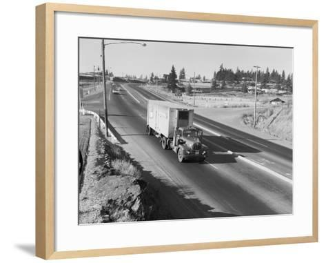 Truck Transporting Delivery to Safeway-Ray Krantz-Framed Art Print