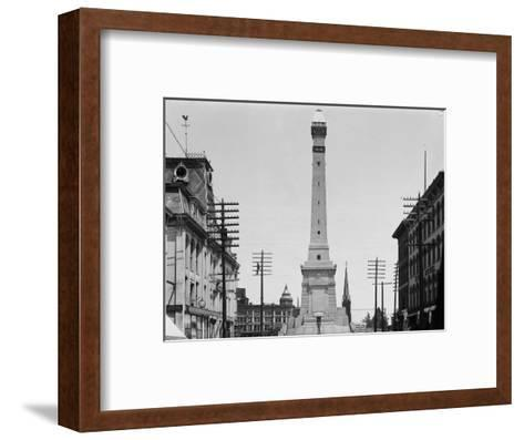 Soldiers and Sailors Monument during Construction in Indianapolis--Framed Art Print