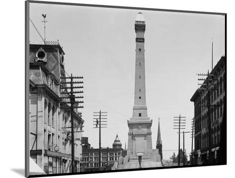 Soldiers and Sailors Monument during Construction in Indianapolis--Mounted Photographic Print