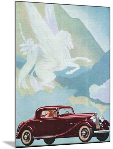 Early Advertising of Buick Automobile with Pegasus Overhead--Mounted Photographic Print