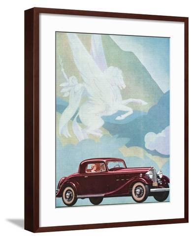 Early Advertising of Buick Automobile with Pegasus Overhead--Framed Art Print