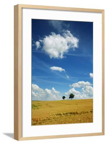 Wheat Field and Cumulonimbus Clouds-Frank Krahmer-Framed Art Print