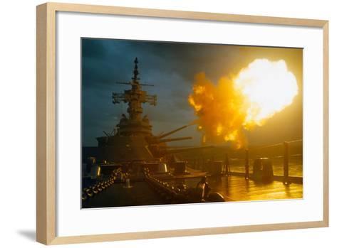 View of USS New Jersey Firing Guns-Kent Potter-Framed Art Print