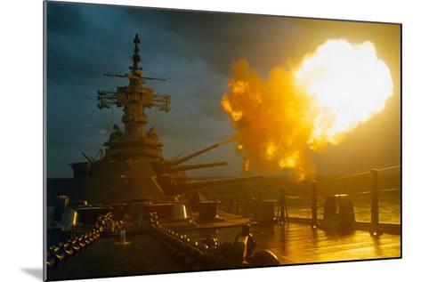 View of USS New Jersey Firing Guns-Kent Potter-Mounted Photographic Print