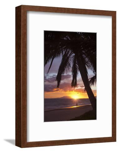 Couple Walking at Sunset at Keawekapu Beach, Wailea, Maui, Hawaii MNR-Ron Dahlquist-Framed Art Print
