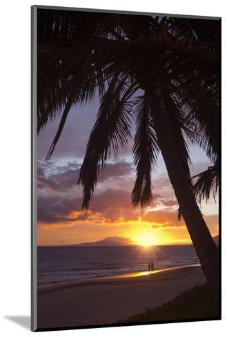 Couple Walking at Sunset at Keawekapu Beach, Wailea, Maui, Hawaii MNR-Ron Dahlquist-Mounted Photographic Print