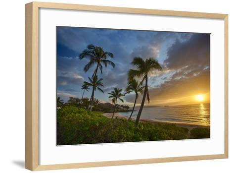 Sunset on Southern Maui Beach with Palm Trees-Terry Eggers-Framed Art Print