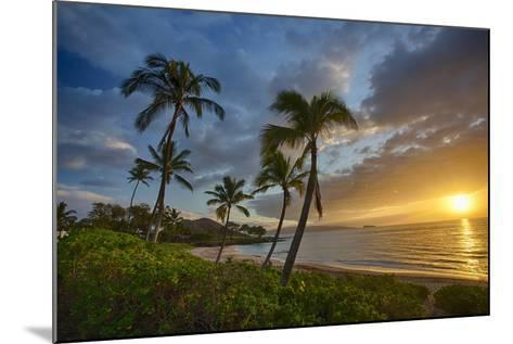 Sunset on Southern Maui Beach with Palm Trees-Terry Eggers-Mounted Photographic Print