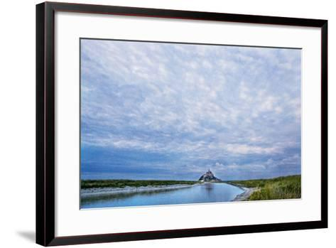 View near Fortified Town during Low Tide, Mont Saint Michel, Lower Normandy, France-Massimo Borchi-Framed Art Print