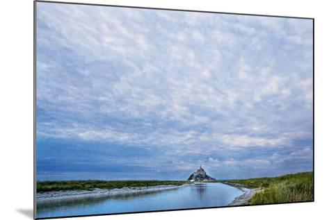 View near Fortified Town during Low Tide, Mont Saint Michel, Lower Normandy, France-Massimo Borchi-Mounted Photographic Print