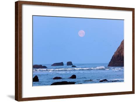Moon Set over Rock Formations at Low Tide, Bandon Beach, Oregon, USA-Craig Tuttle-Framed Art Print