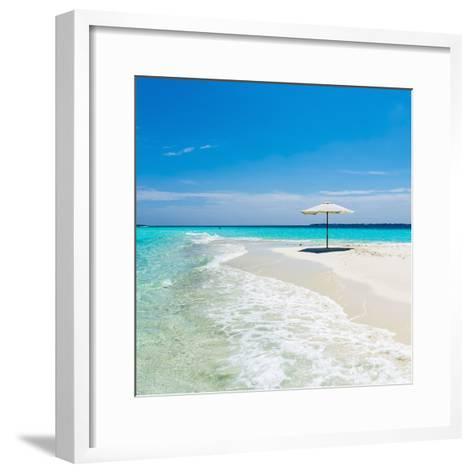 Beach Umbrella in the Maldives-John Harper-Framed Art Print