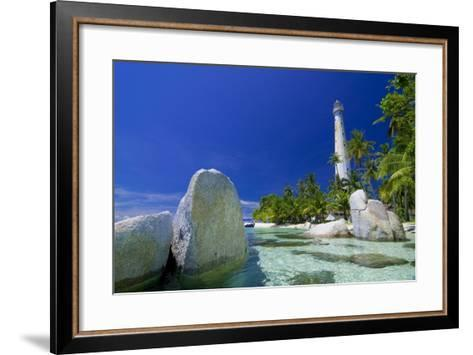 Beautiful View of an Island with White Lighthouse Fringed by Crystal Clear Sea and White Granite Bo-FADIL AZIZ-Framed Art Print