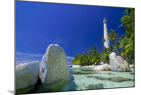 Beautiful View of an Island with White Lighthouse Fringed by Crystal Clear Sea and White Granite Bo-FADIL AZIZ-Mounted Photographic Print