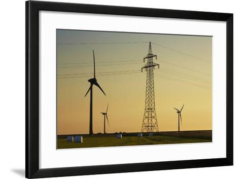 Wind Energy Plant and Power Pole-Frank Krahmer-Framed Art Print