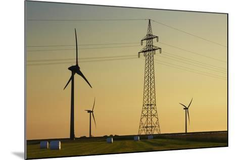 Wind Energy Plant and Power Pole-Frank Krahmer-Mounted Photographic Print