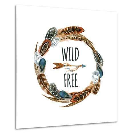 Wild and Free - Wreath with Bird Feathers and Arrow-tanycya-Metal Print