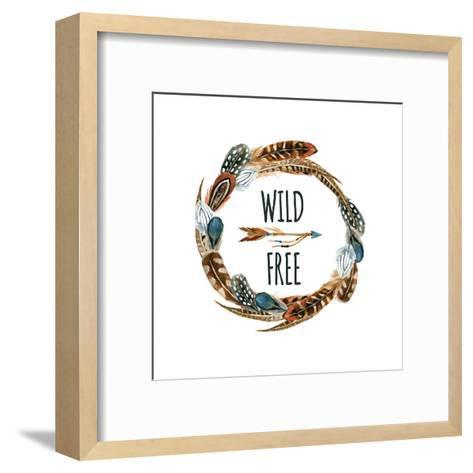 Wild and Free - Wreath with Bird Feathers and Arrow-tanycya-Framed Art Print