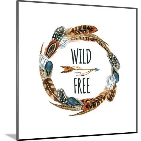 Wild and Free - Wreath with Bird Feathers and Arrow-tanycya-Mounted Art Print