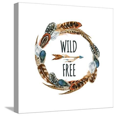 Wild and Free - Wreath with Bird Feathers and Arrow-tanycya-Stretched Canvas Print