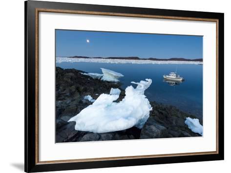 Full Moon and Iceberg, Repulse Bay, Nunavut Territory, Canada-Paul Souders-Framed Art Print