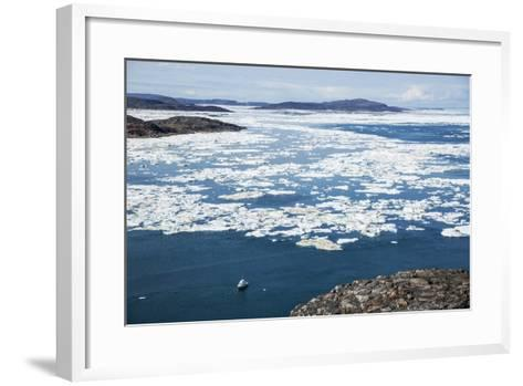Expedition Boat and Sea Ice, Repulse Bay, Nunavut Territory, Canada-Paul Souders-Framed Art Print