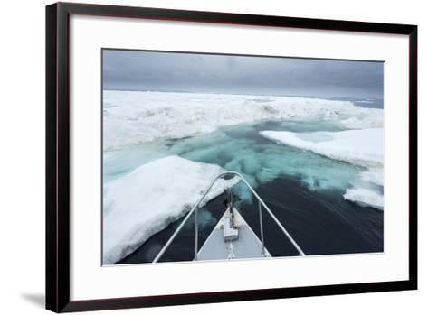 Expedition Boat and Sea Ice, Hudson Bay, Nunavut, Canada-Paul Souders-Framed Art Print