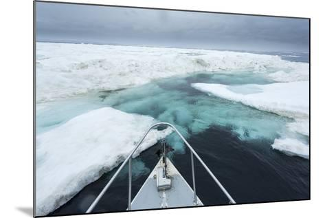 Expedition Boat and Sea Ice, Hudson Bay, Nunavut, Canada-Paul Souders-Mounted Photographic Print