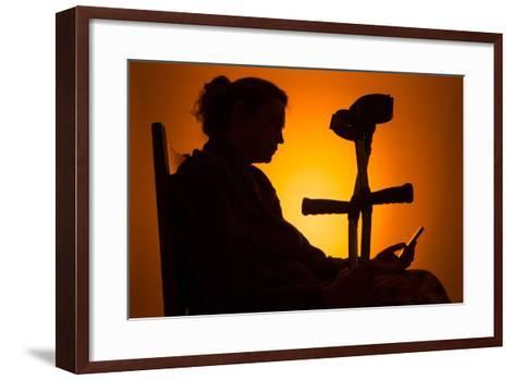 Woman Seated with Crutches-Anthony West-Framed Art Print