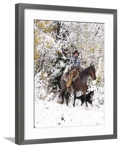 Cowboys Riding in Autumn Aspens with a Fresh Snowfall-Terry Eggers-Framed Art Print